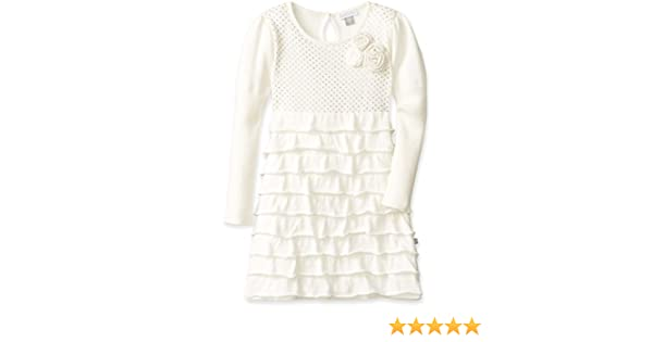 757321c1166 Amazon.com  Petit Lem Little Girls  White Winter Knit Sweater Dress   Clothing