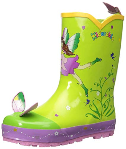 Kidorable Girls' Fairy Rain Boots, Green, 10 M US Toddler