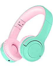 Picun Kids Bluetooth Headphones, 35 Hrs Playtime Foldable Stereo Kids Wireless Headphones 2020 Upgraded Model with Type-C Fast Charge and Built-in Microphone, for Phones/Pad Tables/PC (Green Pink)