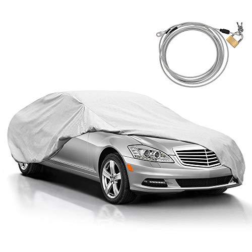 KAKIT Car Cover for Sedan Outdoor, Auto Vehicle Cover Univelsal Fit Windproof/UV Resistant/Waterproof/Dustproof, Free Windproof Ribbon & Anti-Theft Lock,Fits 185