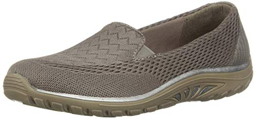 Skechers womens Loafer Flat, Dark Taupe, 9 US