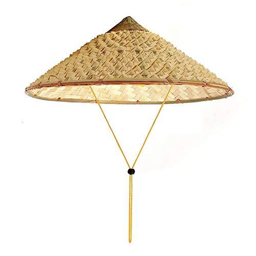SODIAL Vietnamese Japanese Coolie Straw Bamboo Cone Sun Hat Garden Farmer Fishing ()