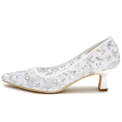 Elobaby Heel Elegante Donna Lace Flower Autunno Red Bridesmaid Pumps 5 5cm Bridal da Platform Sposa Scarpe rfP6Sr