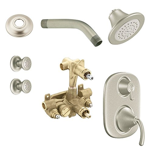 - Moen KSPIC-SB-TS283BN Icon Vertical Spa Kit with Shower, Head, Arm, and Flange, Brushed Nickel