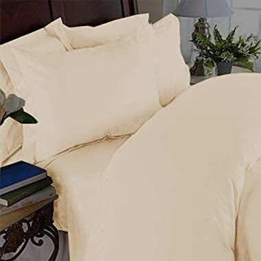 Elegant Comfort 1500 Thread Count Luxury Egyptian Quality Super Soft Wrinkle Free and Fade Resistant 4-Piece Sheet Set, Queen, Beige