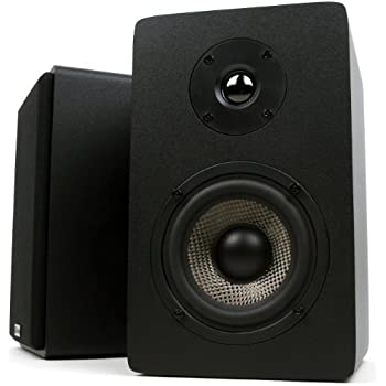 Micca PB42X Powered Bookshelf Speakers With 4 Inch Carbon Fiber Woofer And Silk Dome Tweeter Pair