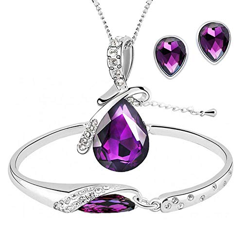 (ISAACSONG.DESIGN Silver Tone Healing Crystal Rhinestone Drop Pendant Necklace, Bracelet, Earring Set for Women (Purple))