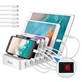 ALLCACA USB Charging Station for Multiple Devices Fast Charging Organizer with 6 USB Ports Dock Cell Phone Charger for Apple Samsung Android Phone iPhone ipad Tablets