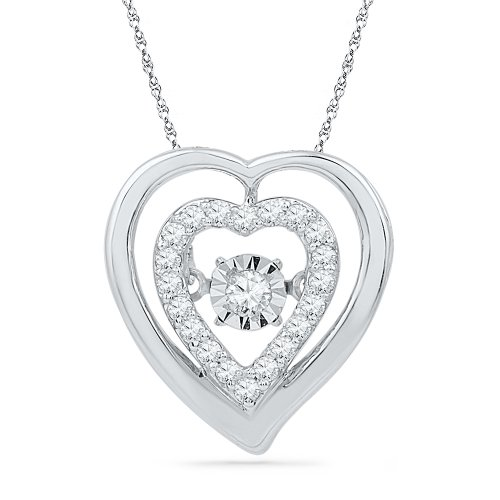 Sterling Silver Round Diamond in Motion Heart Pendant (1/6 cttw) by D-GOLD
