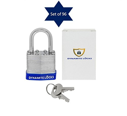 96 PC padlocks keyed alike 96-pack LAMINATED PADLOCK 40MM KEY ALIKE SHORT SHACKLE COMMERCIAL GRADE SECURITY PAD LOCKS PADLOCK KEYED THE SAME A LIKE (Shackle Short)