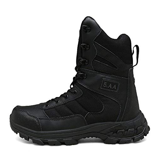YYIN Men's Outdoor Boots High Tactical Boots Desert Sneakers Combat Military Boots Anti-Slip Work Hiking Boot (Color : Black, Size : 41)
