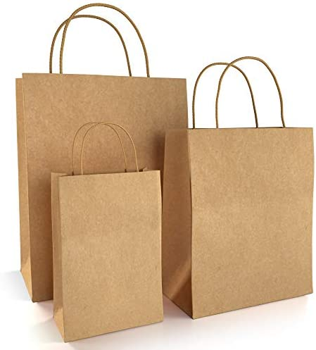 BagKraft Brown Paper Bags with Handles Mixed Size   100% Recyclable Kraft Paper   Ideal for Gifts, Shopping, Boutique, Packaging, Merchandise, Grocery and Craft (30)