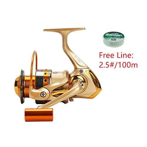 FAIGAFAIVA Spinning Fishing Reels 12 Stainless BB Light weight Ultra Smooth Spinner Gear for Saltwater/Freshwater (Free Fishing Line 100m/500m)