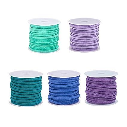 PandaHall Elite 30 Strands 3mm Lace Faux Leather Suede Beading Cords Velvet String 1m per Strand with 100 Pcs Folding Crimp Ends and 20 Pcs Extender Chains 30 Colors