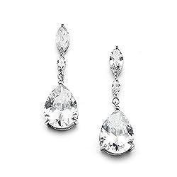 Clear Rhinestone Teardrop Earrings with Marquis
