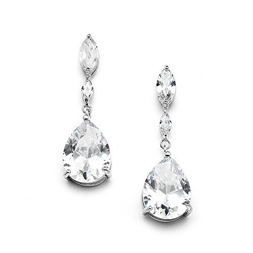 Mariell Cubic Zirconia Bridal, Bridesmaid or Prom Teardrop Earrings with Marquis and Pear-Shaped Dangles (Marquis Shaped Earrings)