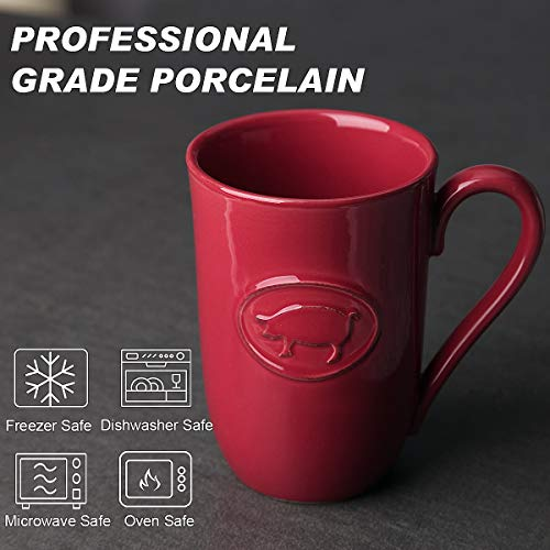 FE Porcelain Coffee Mug, 18oz Large Ceremic Mug for Coffee, Tea, Cocoa for Home Kitchen (Red, Pig)