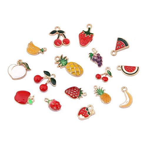 40pcs Mix Style Enamel Alloy Fruit Pineapple Strawberry Apple Girls Charm Pendant DIY Jewelry Making Charms