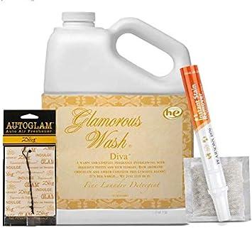 Tyler Diva Glamorous Wash Detergente para lavandería de 1 galón / 128 oz (cubierto con 1 bolsita Diva, 1 removedor de manchas Diva Autoglam y ...