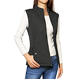 Allegra K Women's Stand Collar Lightweight Gilet Quilted Zip Vest