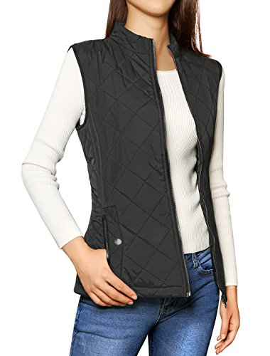 Allegra K Women's Stand Collar Lightweight Gilet Quilted Zip Vest Black Large (Puffy Vest)