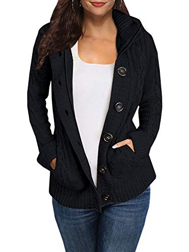 FISACE Womens Weave Knit Pointelle Sweater Coat Warm Hooded Cardigan with Pocket
