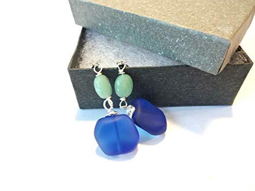 Sea Glass Earrings, Cobalt Blue Sea Glass Bead, Aventurine Gemstone Earring, Dangle Earring, Sea Glass Jewelry, Blue and Green Jewelry