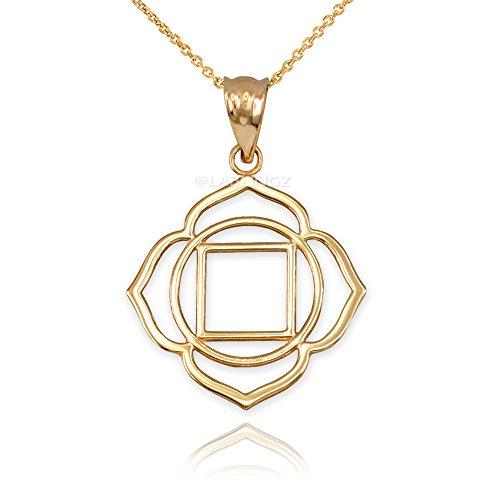 10K Yellow Gold Muladhara Chakra Yoga Pendant Necklace (22)