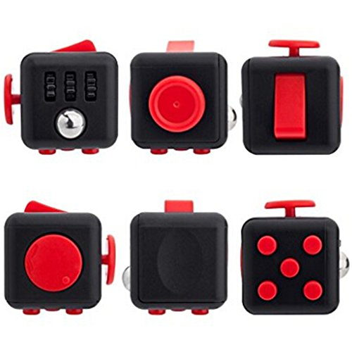 Xinzistar 2 Pcs Fidget Dice II Dice I Stress Release Office Toys Set for Children Adult Black 03 - 4