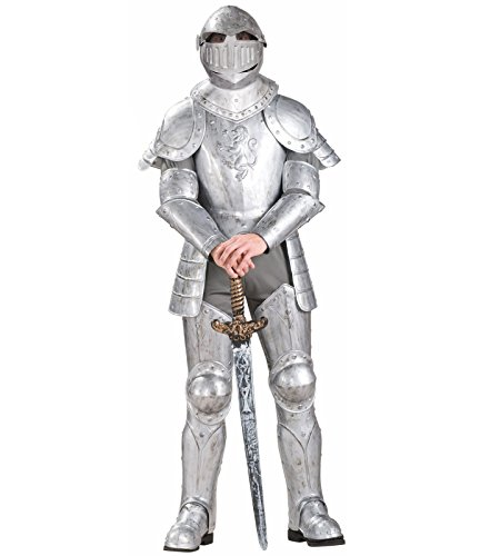 Forum Knight In Shining Armor Complete Costume, Silver, One (Knight In Armor Costume)