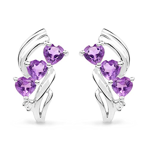 1.50 Carat Genuine Amethyst & White Topaz .925 Sterling Silver Heart Shape Earrings