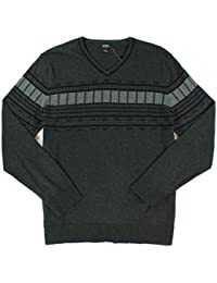 Mens Knit Geometric Stripe Pullover Sweater