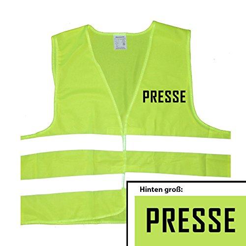 Presse Warnweste - Einheitsgröße bis XXL, Gelb