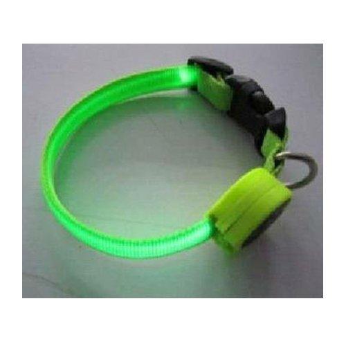 Fashionable Flashing Nylon Dog Collar with Green LED Lights