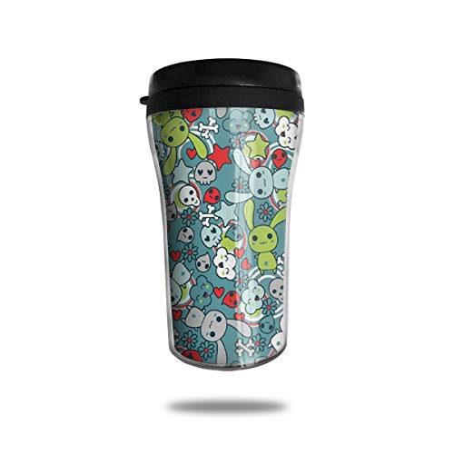 Xuforget Oodle Bunnies with Happy Clouds Lovely Skulls and Hearts Colorful Spill Proof Coffee Travel Mugs