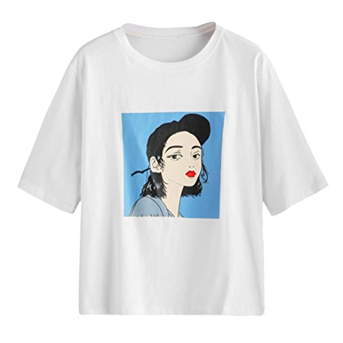 Mode XL ~ Graphique O t B Blouse Causal Tops S Wolfleague T Courte Chic Impression Shirt Tee Cou Femme Manche dTPUqSw