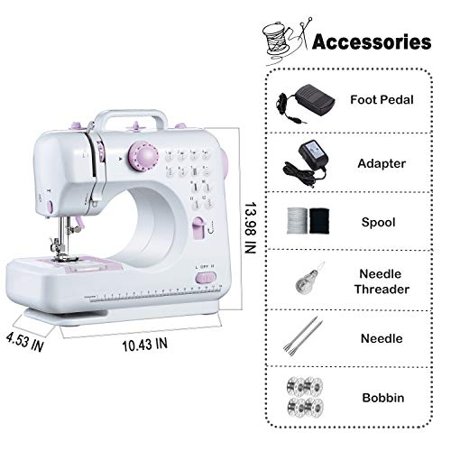 Varmax Sewing Machine with 12 Stitches Multifunctional Sewing Machine with Zigzags Backstitch Buttonholing