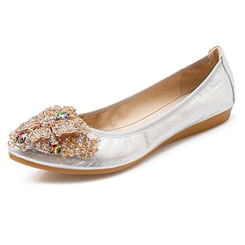 Meeshine Women's Wedding Flats Rhinestone Slip On Foldable Ballet Shoes Silver 8 US