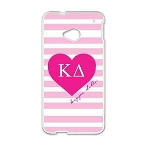 HTC One M7 Cell Phone Case White Kappa Delta Pink Stripes Slfuq