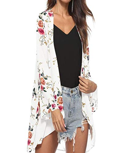 Toimoth Women Floral Cover Casual Blouse Tops Loose Kimono Cardigan Capes Sun-Protective Clothing(White,L)