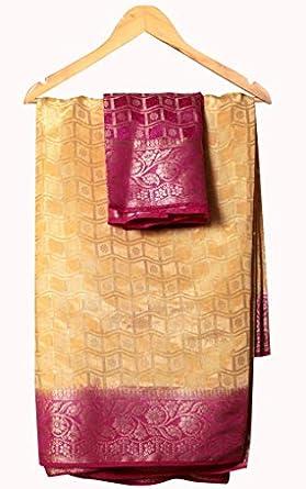 Banarasi Silk Saree for Women Gharchola Dress Material Sari with Same Contrast Blouse