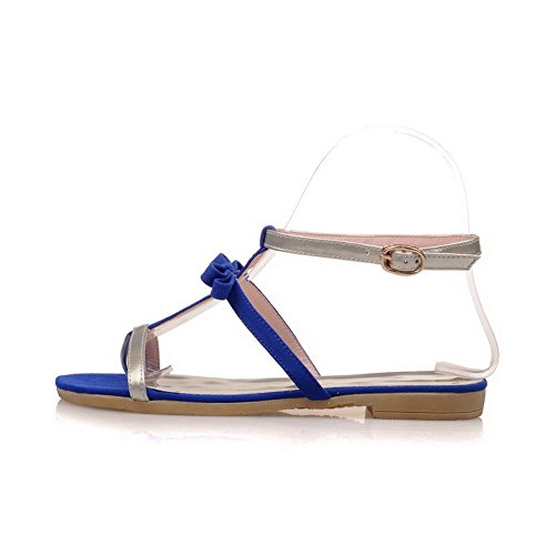 AmoonyFashion Womens Split Toe Low-heels Soft Material Assorted Color Buckle Flip-Flop-Sandals Gold Og5p44vGIu