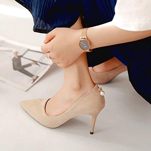 Xue Qiqi Schwarz Satin High Heels mit der Spitze eines einzigen Schuh beige, mit eleganten, professionellen Arbeit Schuhe, 38, beige, 9 cm