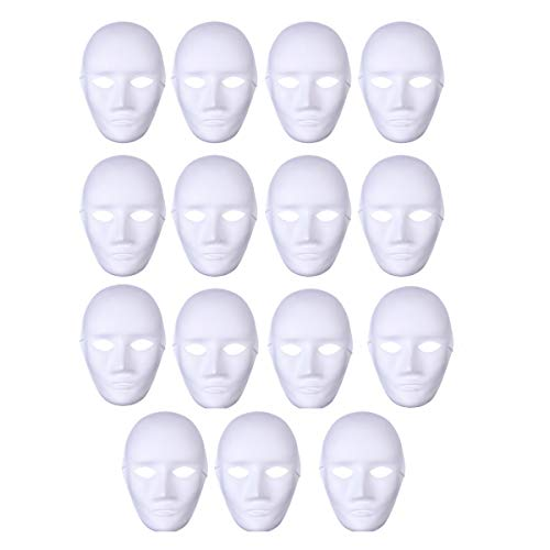 YeahiBaby Blank Full Face Mask DIY Mask to Painting Carnival Party Ghost Cosplay Masquerade Party Masks 15pcs (Male Face)
