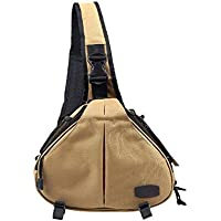 Caden K1 Shoulder Bag Triangle Carry Case (Khaki) for DSLR Sony Canon Nikon Camera Lens