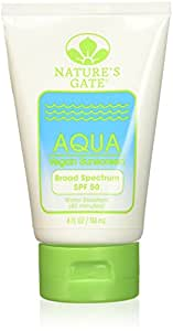 Nature's Gate Aqua Block Sunscreen Lotion, Very Water Resistant, Fragrance-Free, SPF 50, 4 Ounce (Pack of 3)