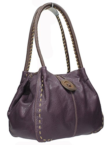 Midas Midas Detail Purple Handbag Faux Boutique Button Leather Boutique aUxCq5wH
