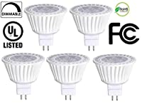 Bioluz LED 5 Pack MR16 50W Halogen Equivalent Dimmable 7w 3000K 12v UL listed