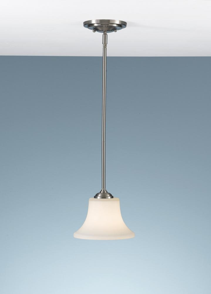 Feiss P1117BS Barrington Glass Pendant Lighting, 1-Light, 100watts, Brushed Steel (8''W by 6''H)
