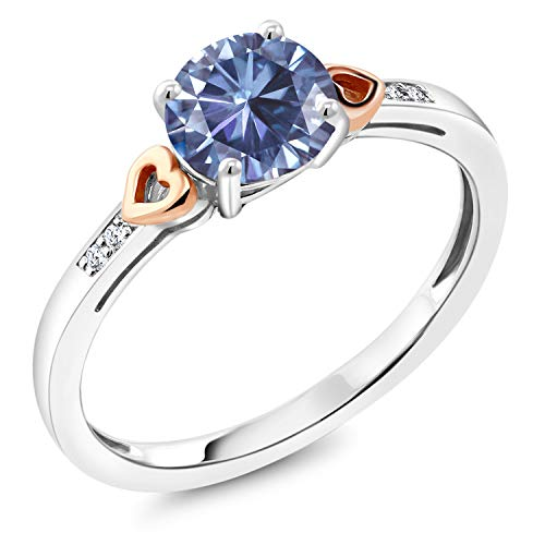 (Gem Stone King 925 Sterling Silver Solitaire w- Accent Stones Ring Round Persian Blue Created Moissanite and Diamond White 1.00ct (DEW) (Size 9))